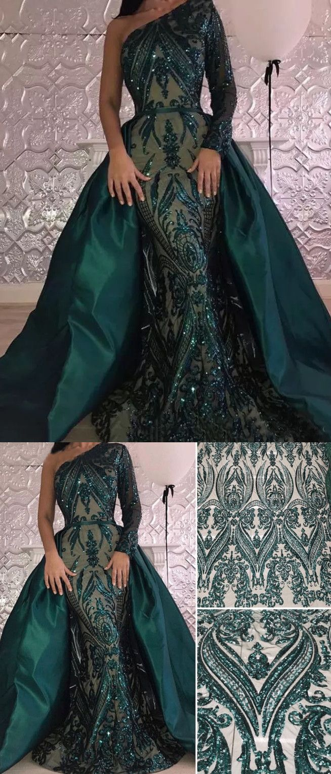 chic mermaid one shoulder lace prom dresses unique dark green