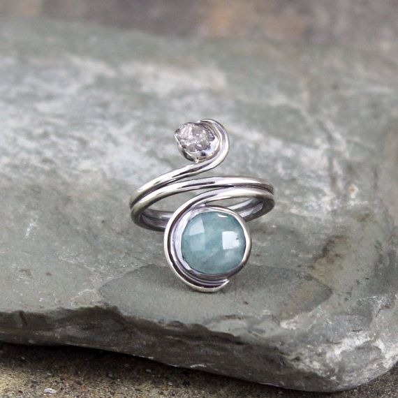 Aquamarine and Raw Diamond Ring  Sterling Silver by ASecondTime - I love this shop