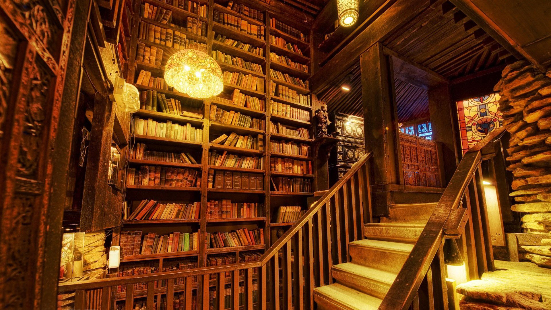 Old World Home Library Wallpaper | WallpaperToon | MY ...