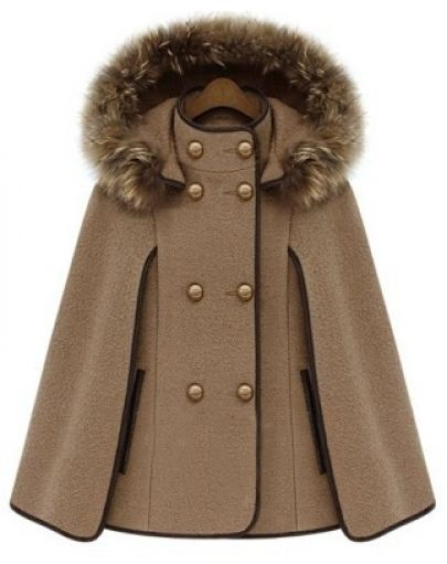 baf83b9ae2b243 Camel Detachable Fur Lined Hood Contrast Trims Cape pictures ...