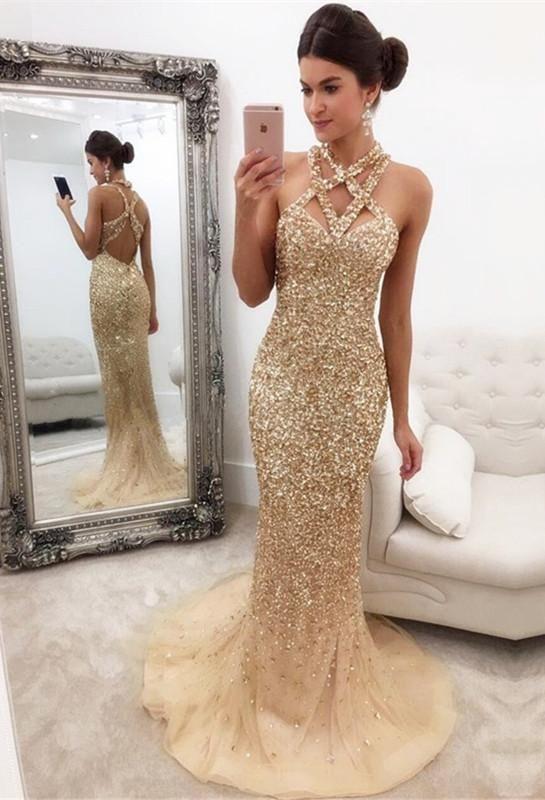 ceb223cb22 Chicloth Gorgeous Crystals Mermaid Sleeveless Halter Zipper-Back Prom Dress