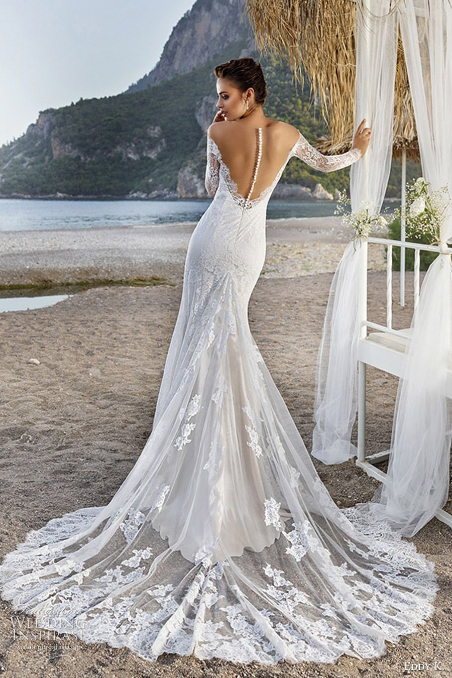 1fb4cc20e513 eddy k bridal 2017 long sleeves sweetheart off shoulder lace sheath wedding  dress (bali) bv illusion back train elegant