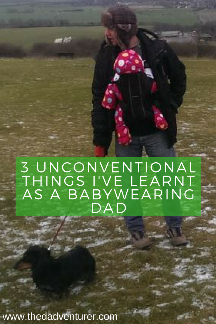 As a proud babywearing dad I share three of the more unconventional things I've learnt from carrying my child in a baby carrier. Click through to read what I've learnt about baby wearing.