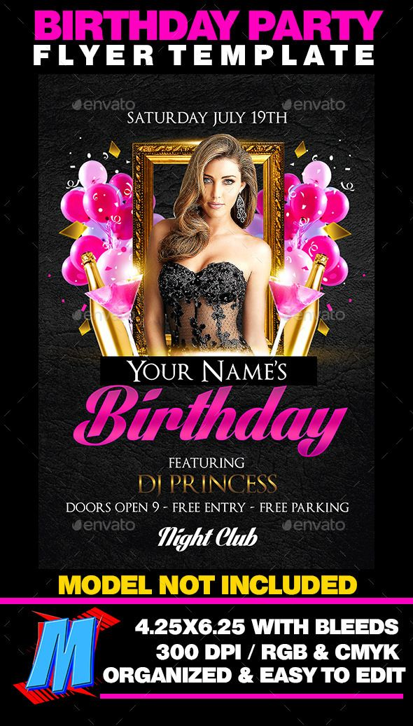 Birthday Party Flyer Template  Photoshop Psd Beauty Bash