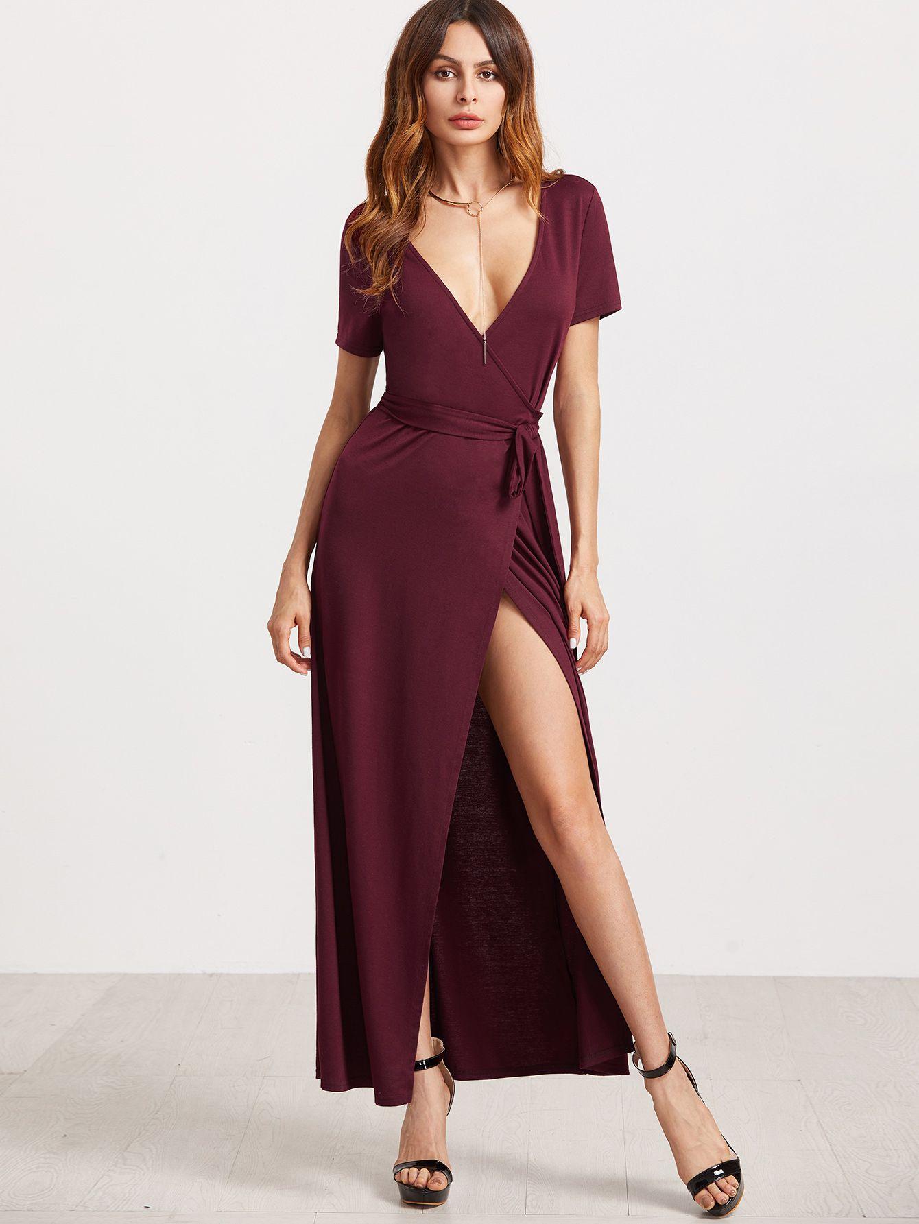 Dress170110711 2 Low V Neck Dress Surplice Wrap Dress Dresses [ 1785 x 1340 Pixel ]