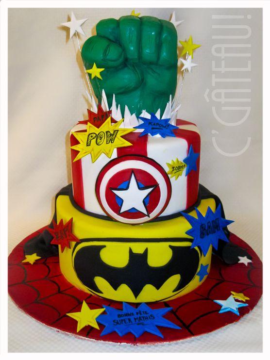 Birthday Boy Superheroes Cake Hulk Captain America Batman