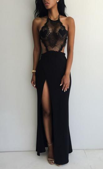 Long Black Lace Boho Dress