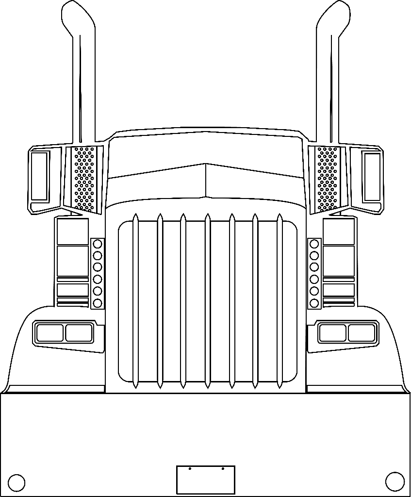 semi truck vector art for cnc router and plasma vynal cutters [ 847 x 1024 Pixel ]
