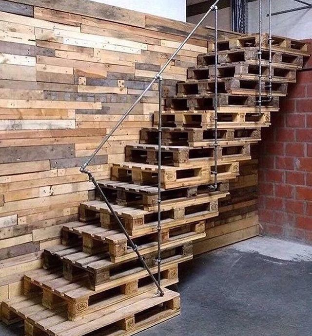 "12 Diy Old Pallet Stairs Ideas: Ideas ♻ On Instagram: ""♻️Why Not ?! 😜 #stairs #staircase"