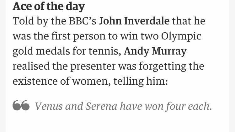 @VABVOX: #Olympics really has been a festival of #misogyny, given how many women have won #Gold  Bravo #AndyMurray for this. http://twitter.com/jennigunnssp/status/765108952803733504/photo/1