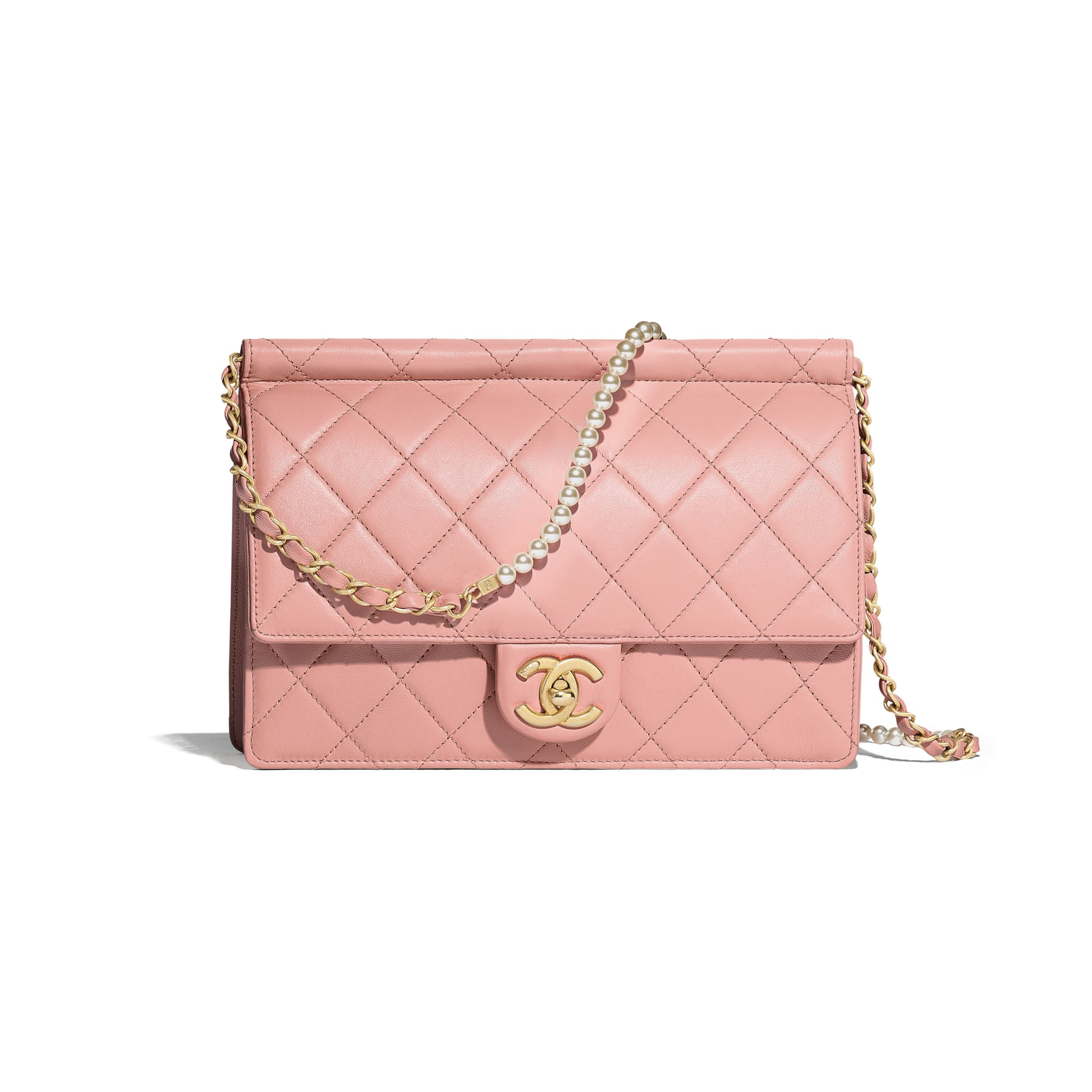 b7cea6ddaf Lambskin, Imitation Pearls & Gold-Tone Metal Pink Flap Bag in 2019 ...