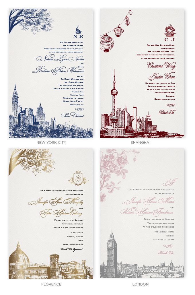Wedding Invitations with skylines of New York, Shanghai, Florence ...