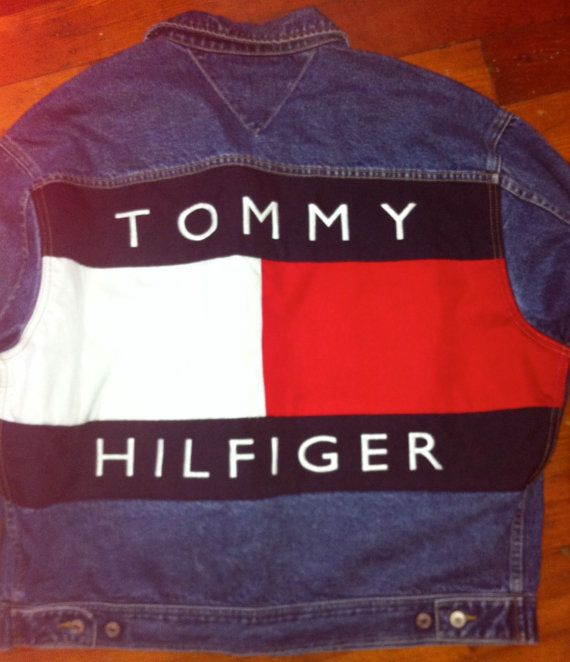 6b1feefd 90's Tommy Hilfiger denim jacket with the iconic Tommy Hilfiger flag on the  back.