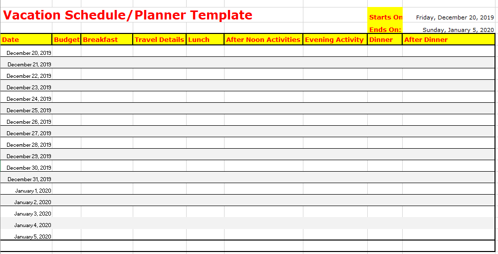 Vacation Schedule Template Excel The History Of Vacation Schedule Template Excel Schedule Template Calendar Template Planner Template