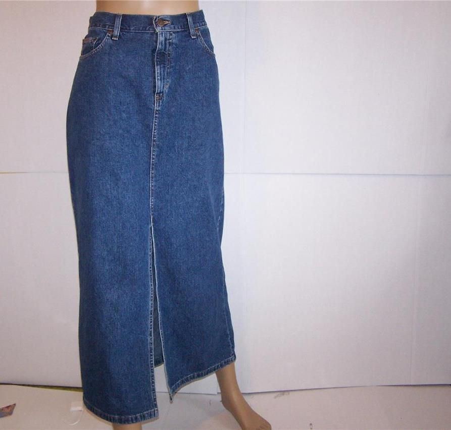 EDDIE BAUER Denim Skirt Sz 12 Blue Jean Modest Mid Calf W 34