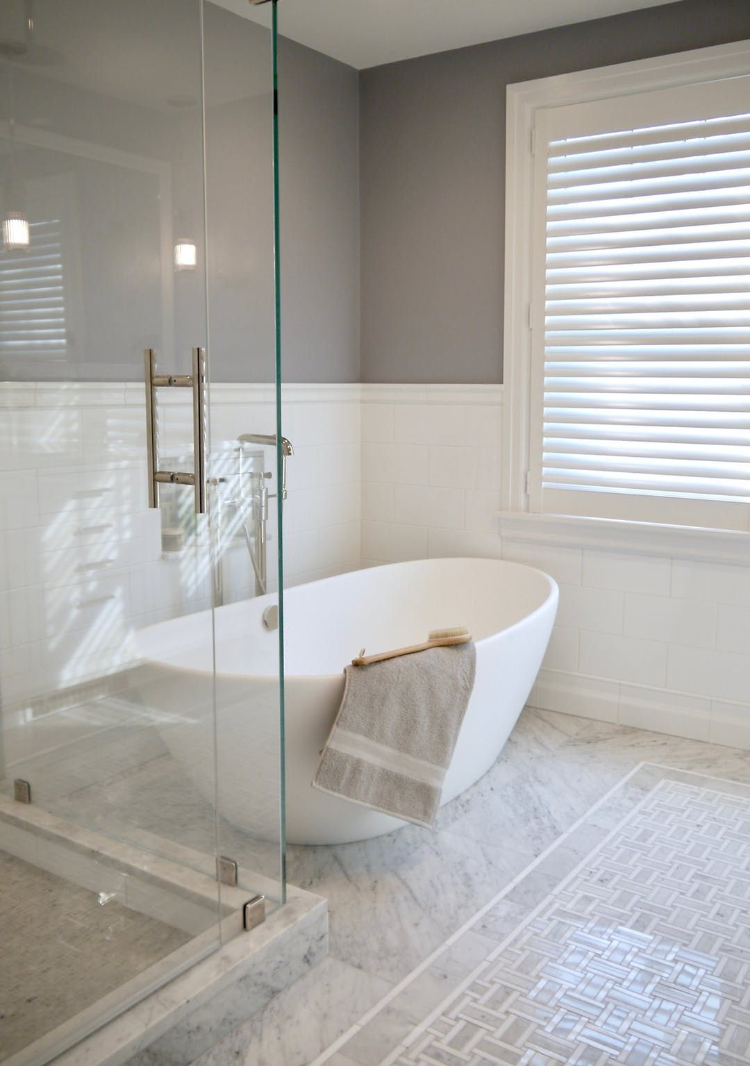 Classic Master Bath with Freestanding Tub and Mosaic