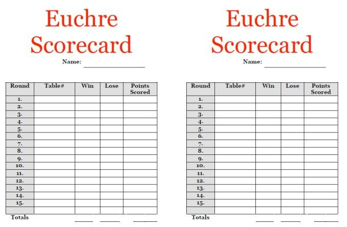 Euchre Score Sheet Template  Stationary Templates
