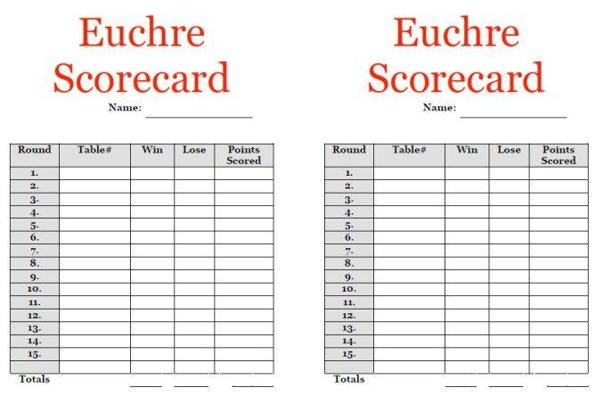 Euchre Score Sheet Template Stationary Templates Pinterest