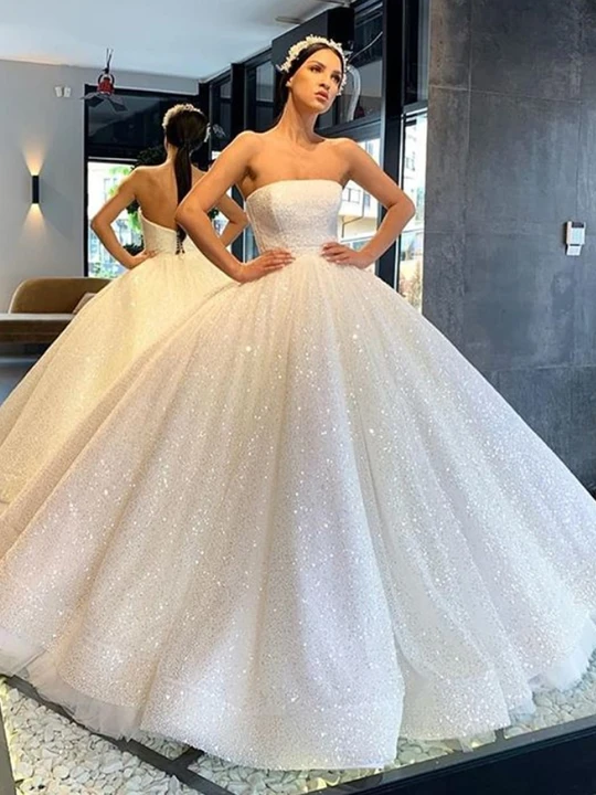 Onlybridals 2020 Decals Tube Top Satin Sweetheart Court Train Prom Satin Dress Wedding Dress In 2020 Ball Gowns Gowns Wedding Dresses