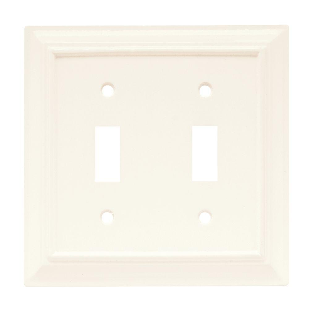 Hampton Bay Architectural Wood Decorative Double Switch Plate White W10763 Wh Uh The Home Depot Plates On Wall Hampton Bay The Hamptons