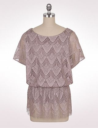 Misses Tops Dressy Metallic Crocheted Blouse Dressbarn