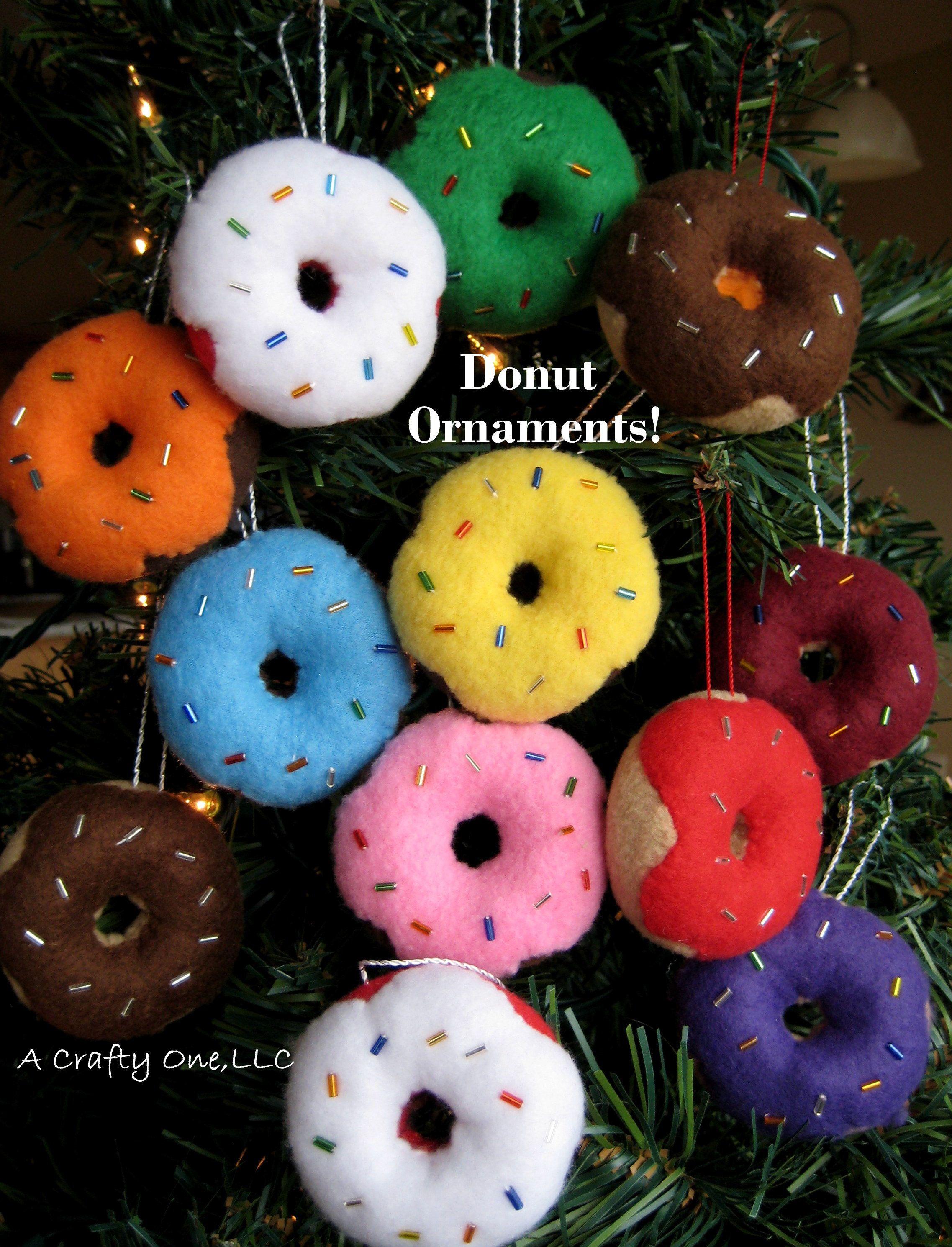 Donut Ornament Christmas Food Ornament Donut Set Of 6 Or 12 Christmas Felt Donuts Bakery Ornament Gift Foodie Gift Donut Lover Gift Cool Christmas Trees Christmas Fun Christmas Ornaments