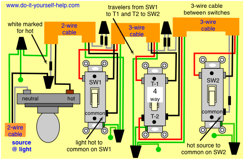 wiring diagram for 3 way switch with 4 lights http