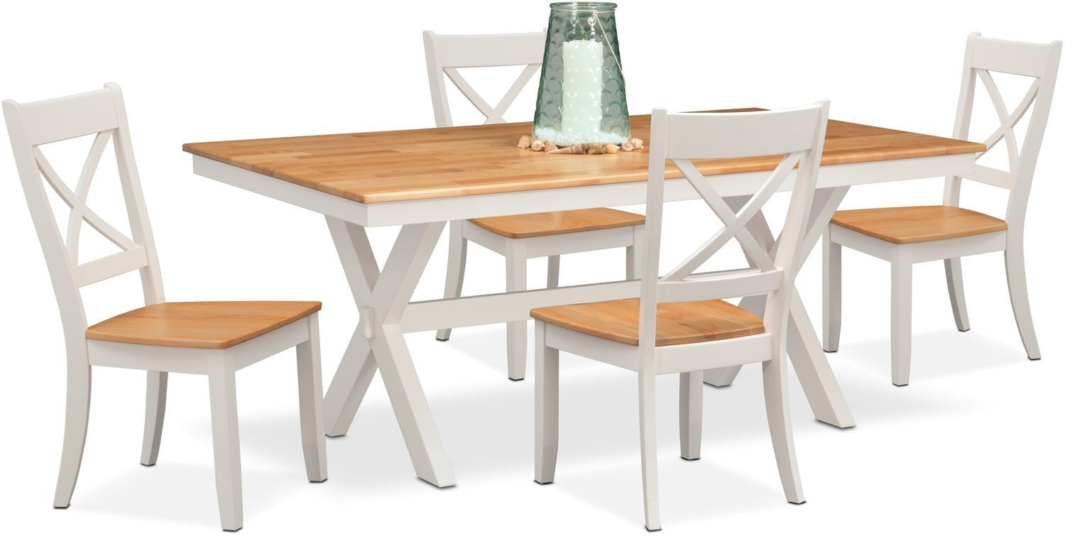Nantucket Trestle Dining Table And 4 Dining Chairs Trestle