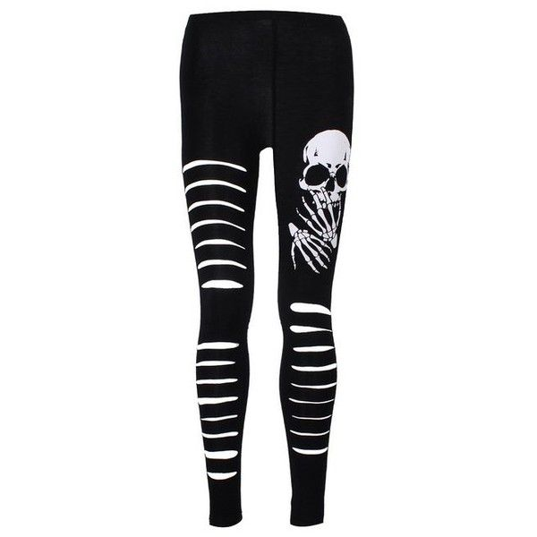 Banned Slashed Skull Leggings Black ($30) ❤ liked on Polyvore featuring pants, leggings, bottoms, jeans, black skull leggings, slashed leggings, black pants, black slashed leggings et black trousers