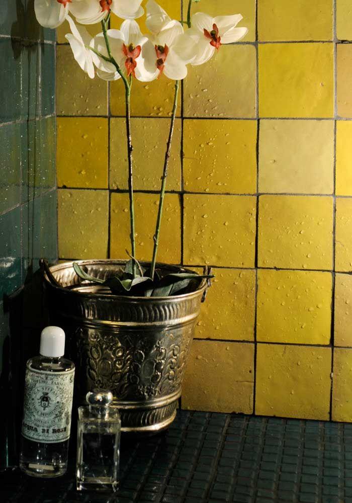 Gele zelliges - spatwand badkamer   Color My World   Pinterest ...