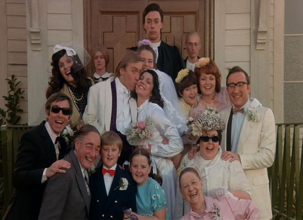 """In the opening wedding scene the minister is Tim Curry (Dr. Frank N. Furter), the """"old man"""" to his left is Richard O'Brien (Riff Raff) and the """"wife"""" to his right is Patricia Quinn (Magenta)."""