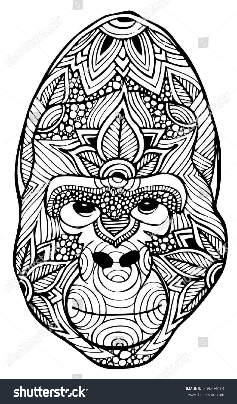 Zentangle Style Gorilla Vector Animal Coloring Pages Cute Coloring Pages Zentangle