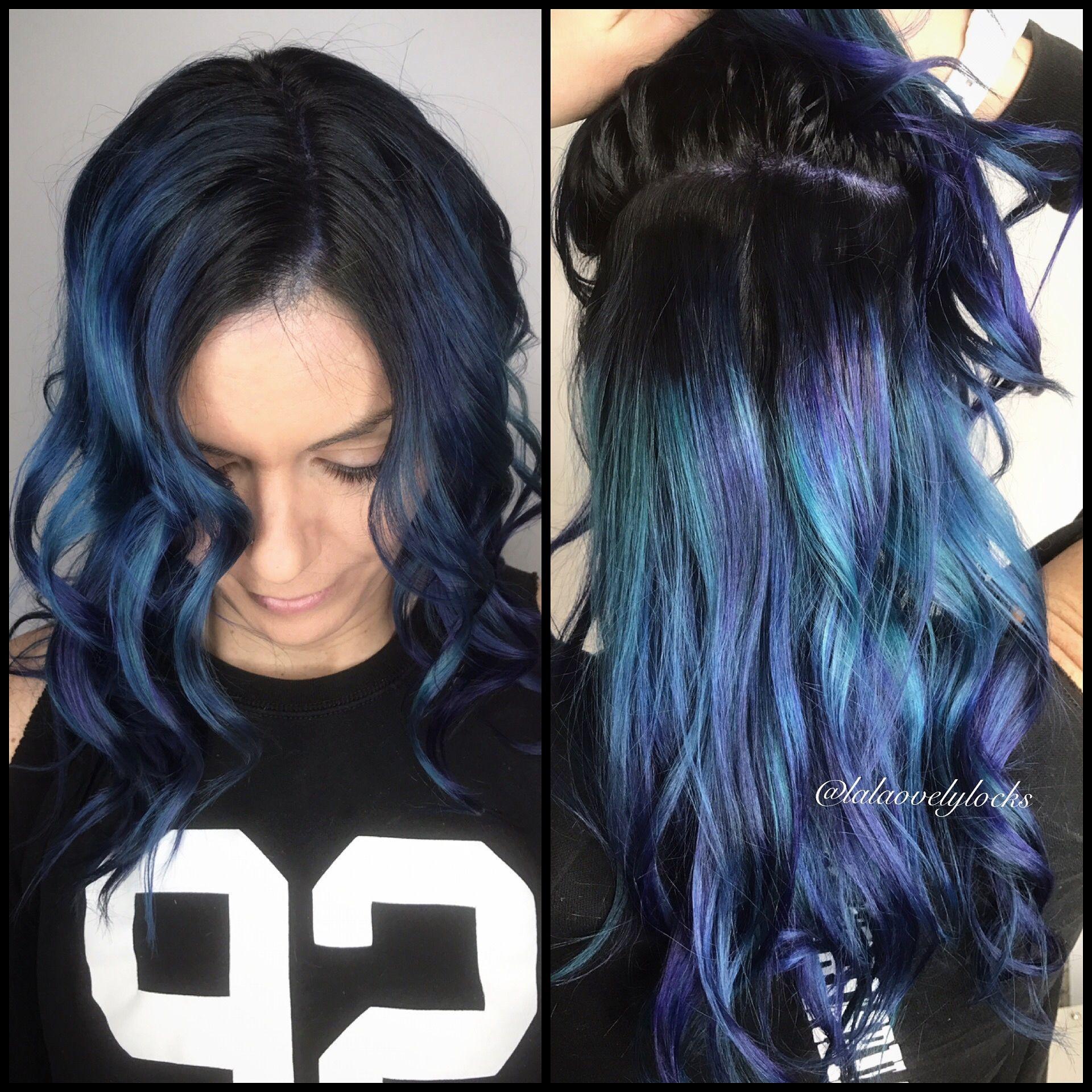 Blue Hair With Black Roots Bluehair Hairtrends Mermaidhair