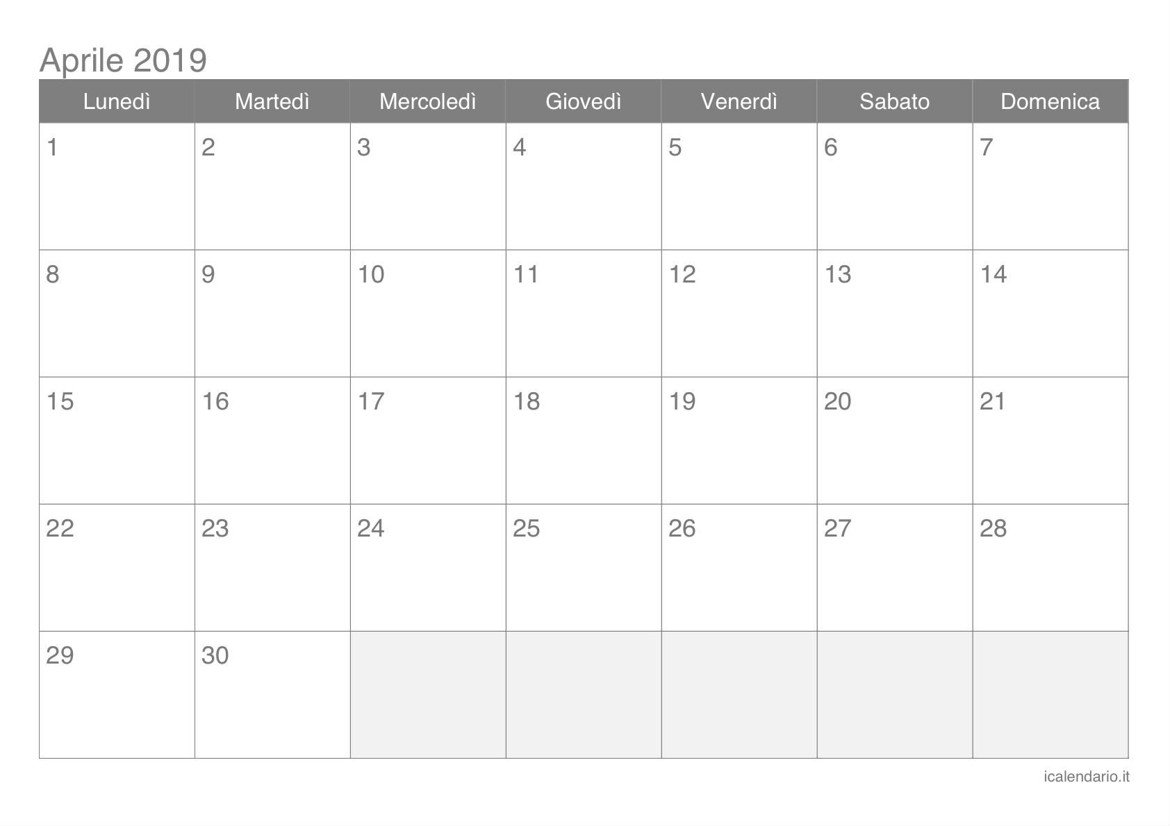 Cerca Calendario.Calendario Aprile 2019 Cerca Con Google Desktot