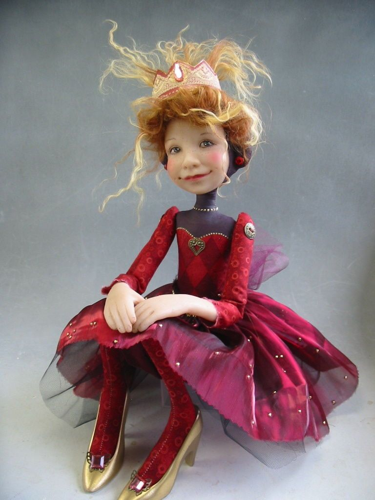 "Folk Art Doll Red Dress Gold Shoes ""Princess Annabelle"" by Dianne Adam"