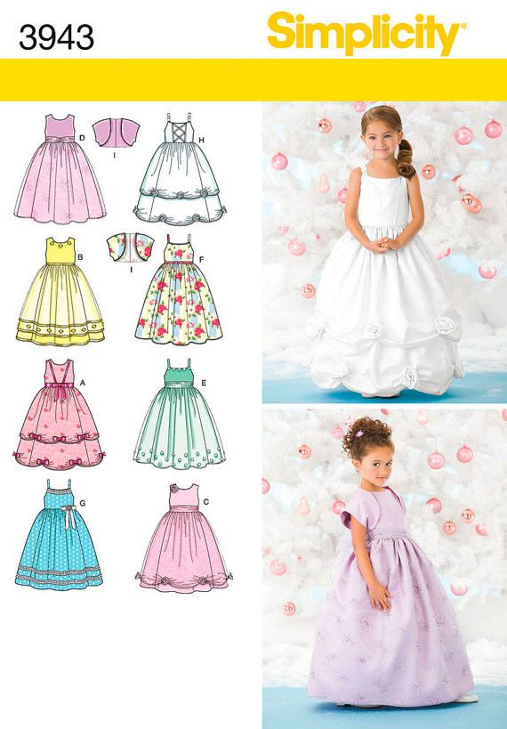 Child Special Occasion Dress Sewing Pattern 3943 Simplicity Sophia The First