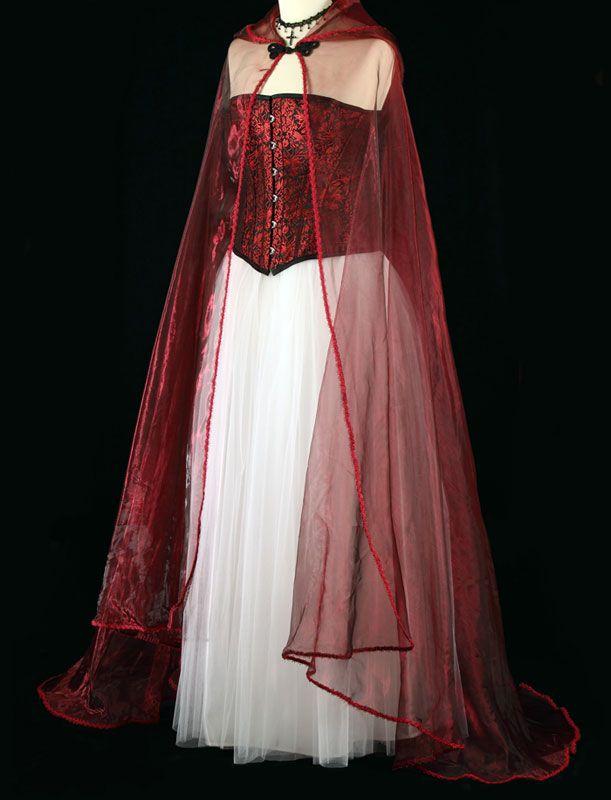 441W - Wine Organza Cloak - Gothic, romantic, steampunk clothing - romantic halloween ideas