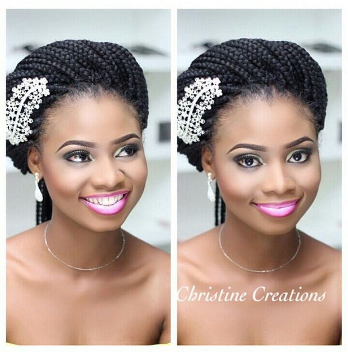 Wedding Hairstyles Braids: Bridal Makeup With Ombre Lip And Braid Extensions