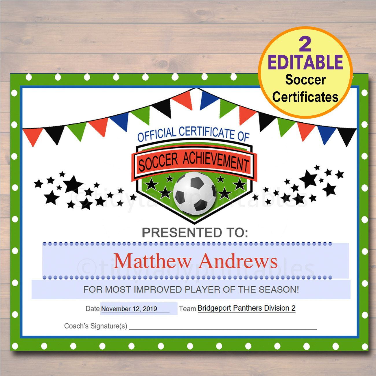 editable soccer award certificates instant download team