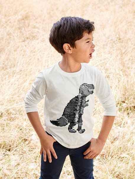 2671264c971fe  TShirt  Sequin  dinosaure  garçon Une caresse sur le dino et hop