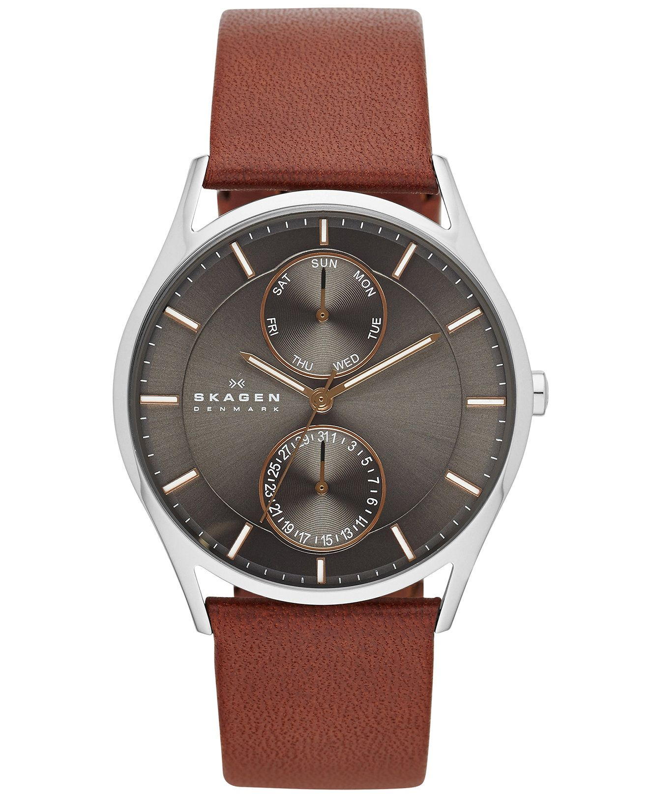 56cb0539e31b3e A multifunctional design in classic brown leather from Skagen s watch  collection.