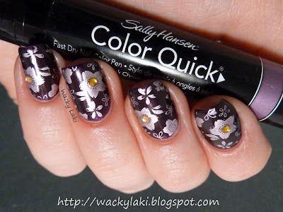 Stamped Purple Manicure w/ Rhinestone Accents