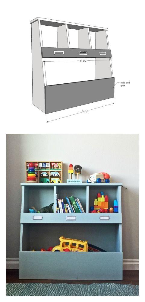 Toy Bin Box With Cubby Shelves Toy Storage Bins Diy Toy Box