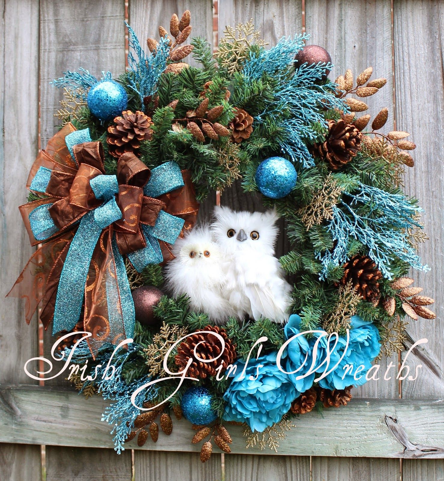 rustic woodland turquoise copper brown owl winter wreath large