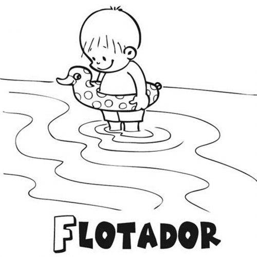 Nino Con Flotador Libro De Colores Paginas Para Colorear Dibujos