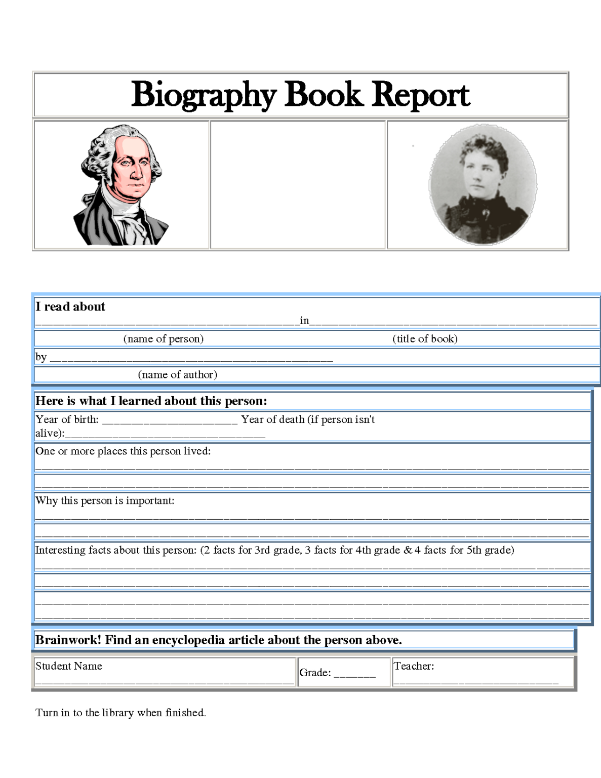 5Th Grade Dol Worksheet | Printable Worksheets And pertaining to Biography Book Report Template – Sample Design Templates
