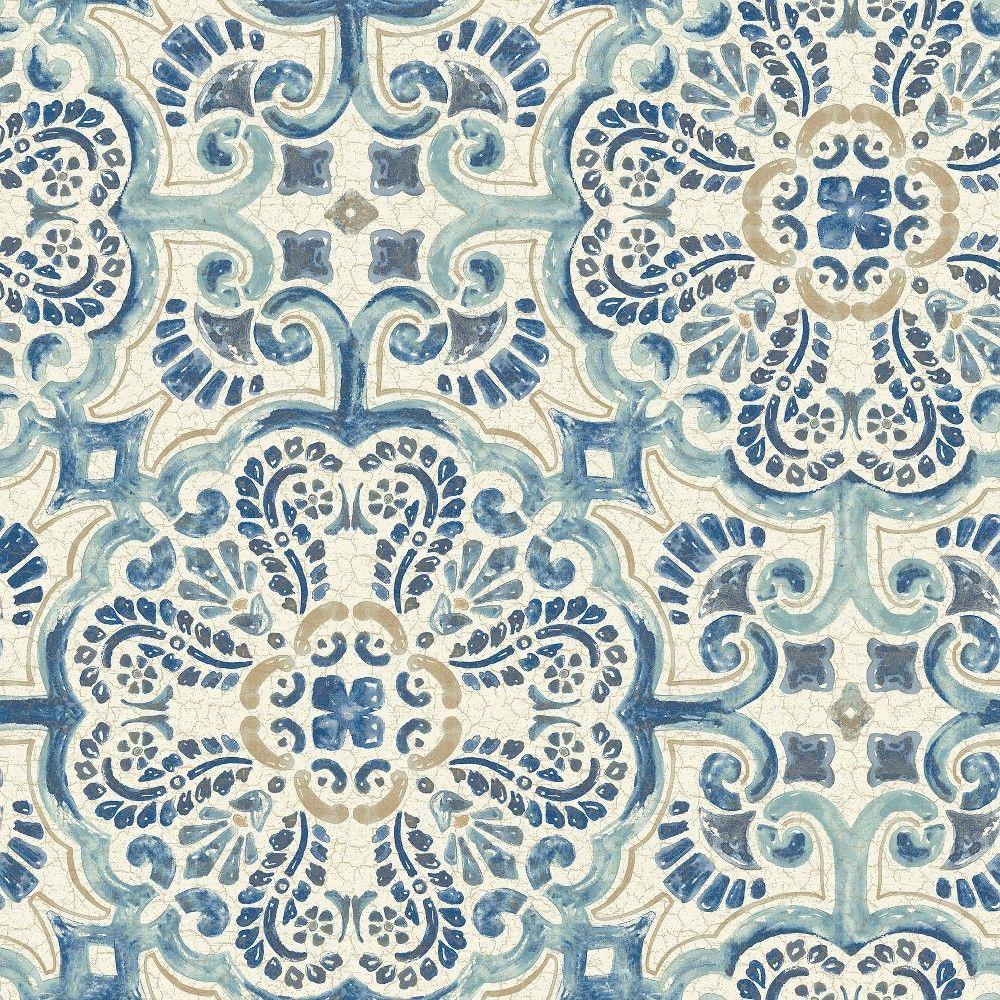 Nuwallpaper Florentine Tile Peel Stick Wallpaper Blue Nuwallpaper Tile Wallpaper Peel And Stick Wallpaper