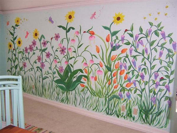 Flower garden mural for the home pinterest wall for Mural flower