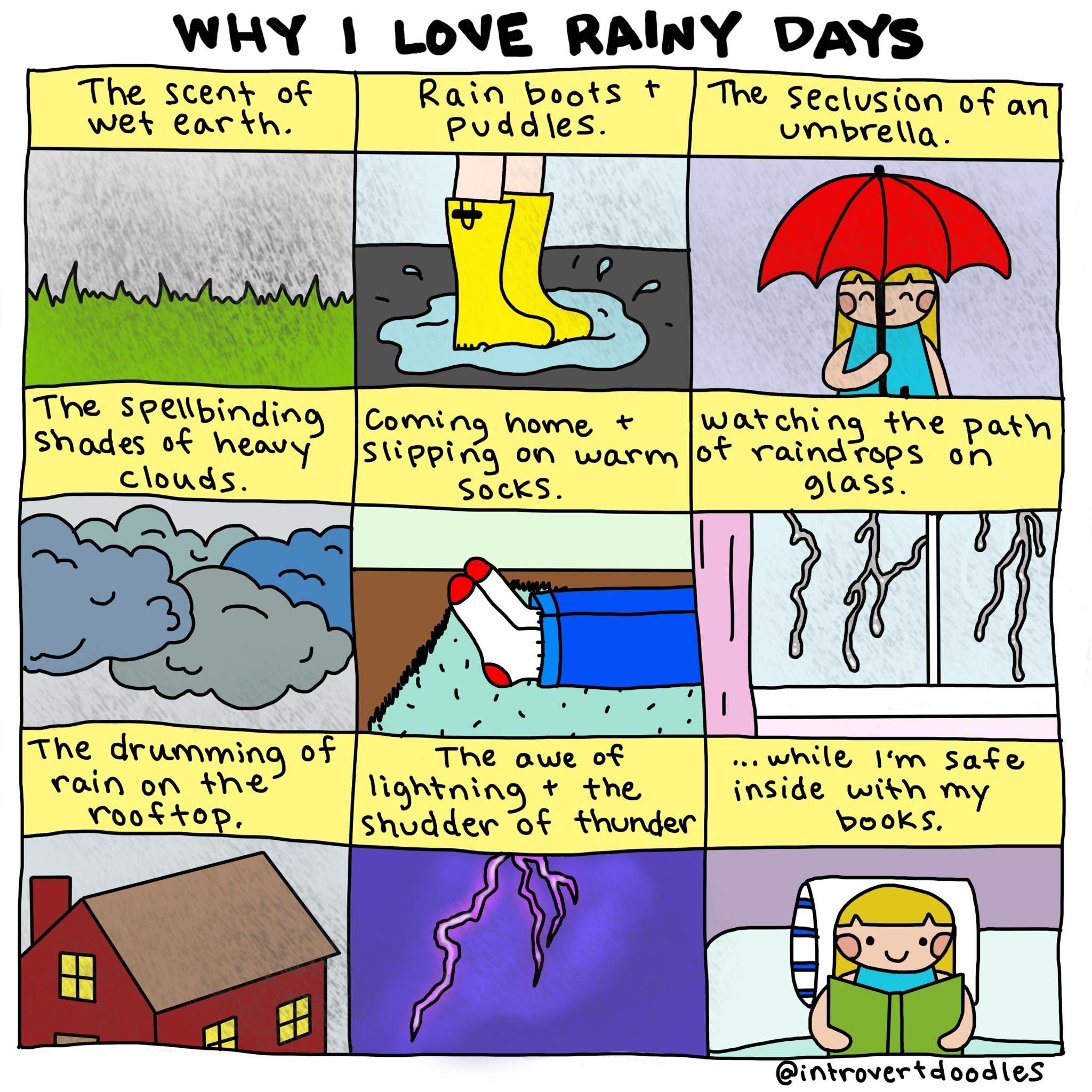 I Love Rainy Days: Why I Love Rainy Days. #introvert #introvertdoodles