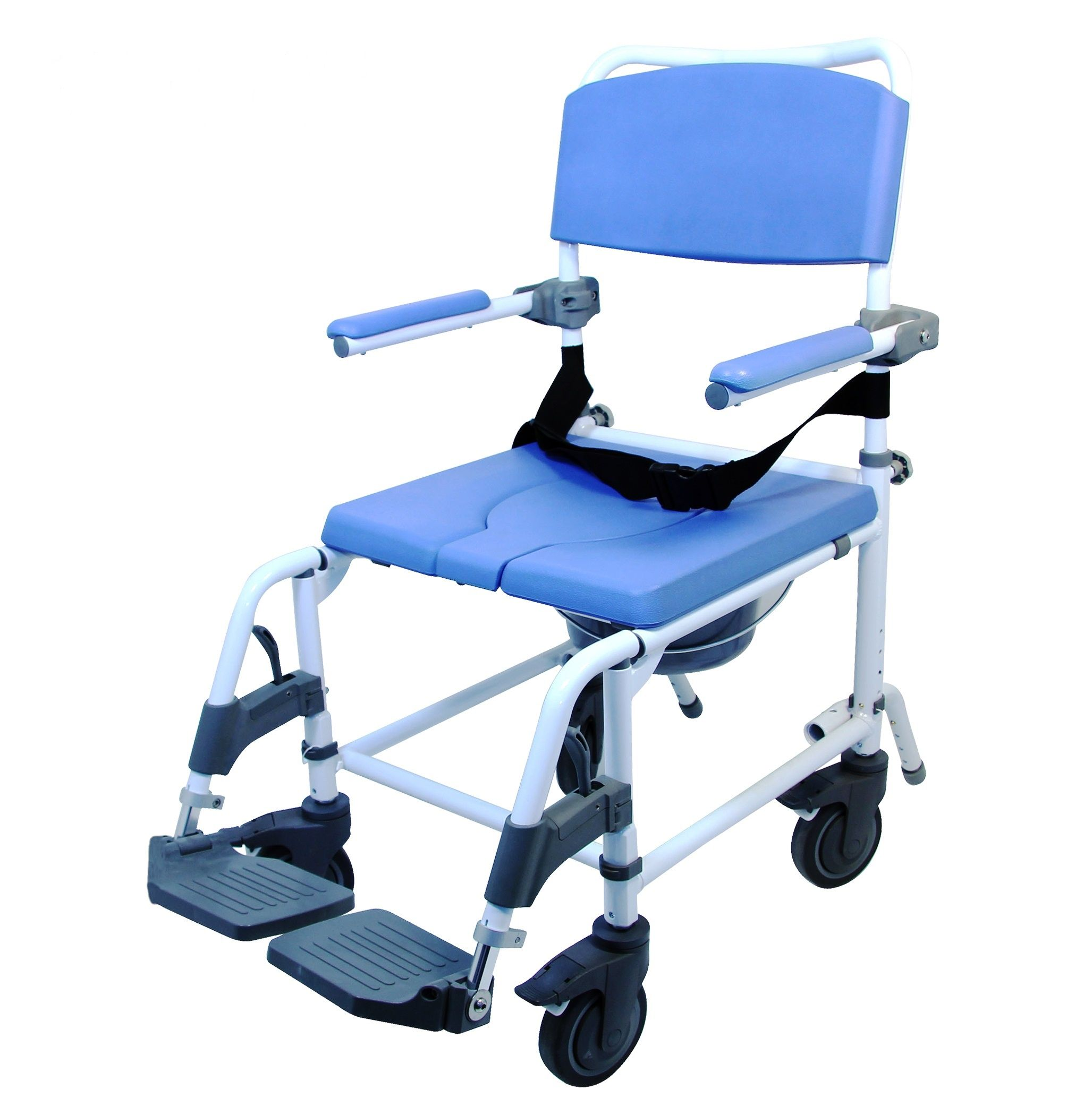 Full Featured No Rust Shower And Toileting Chair Features Removable Footrests 5